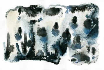 Monochrome watercolor and ink texture on white paper