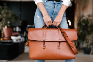 Crop lady with stylish bag