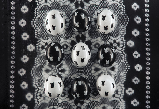 Black and white Easter Eggs with a simple cute bunnies design