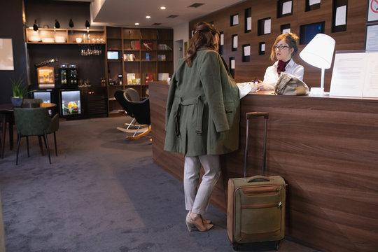 Senior businesswoman in a hotel