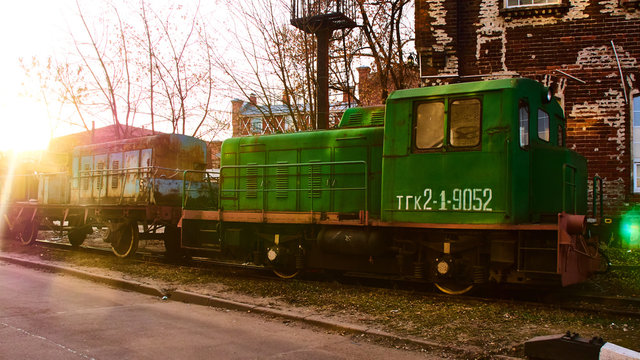 Stray train with a diesel engine