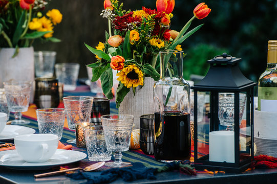 Fall Patio Dinner Party Tablescape