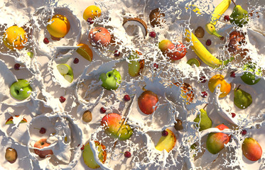 Close up of fresh fruits in milk
