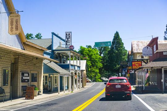 June 26, 2019 Groveland / CA / USA - Passing through Groveland on the way to Yosemite National Park, Sierra Nevada mountains