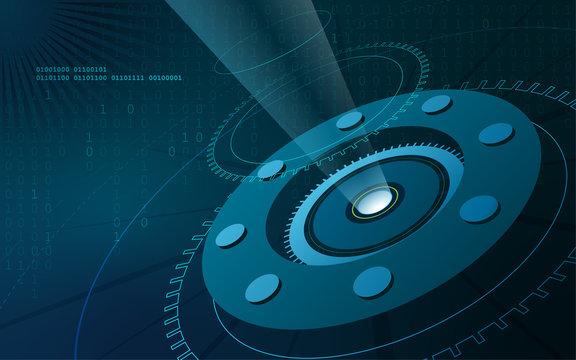 Open source high tech background with a light beam