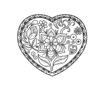 Coloring page valentine's day heart with flowers