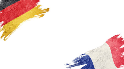 Flags of Germany and France on White Background