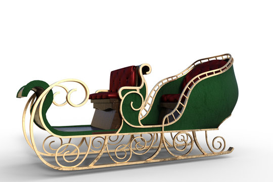 Santa sleigh isolated on white, 3d render.