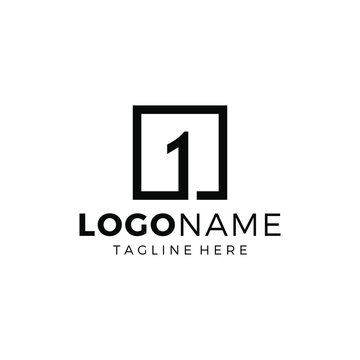 Number One Logo Design with Line Square
