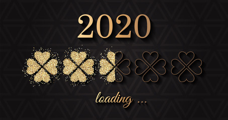 2020 loading happy new year vector background with golden glitter clover