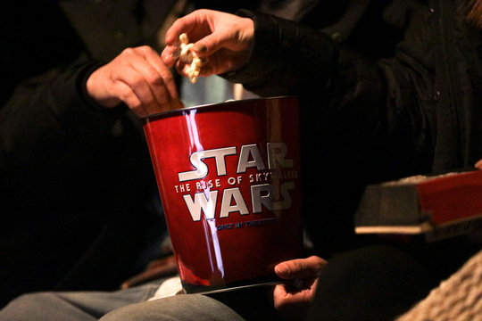 "A Star Wars popcorn box is seen during the ""Star Wars: The Rise of Skywalker"" movie opening night fan event in New York City"
