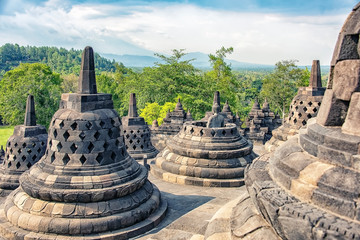 Borobudur buddhist monument in Central Java, Indonesia