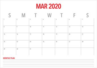 March 2020 desk calendar vector illustration