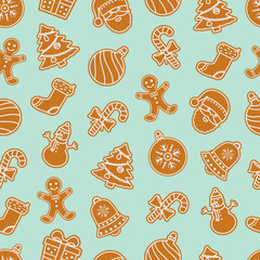Christmas seamless pattern with gingerbread cookies