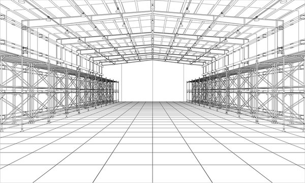 Drawing or sketch of warehouse with shelves