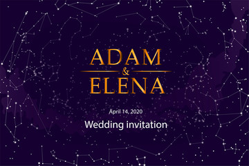 templates for wedding invitations. Poster with the names of the bride and groom, invitations, Seating cards