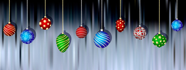 Christmas balls hanging on blurred background