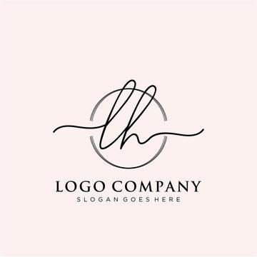 LH Initial handwriting logo vector
