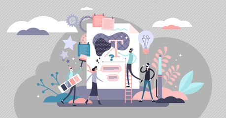 Branding vector illustration. Image development in flat tiny person concept