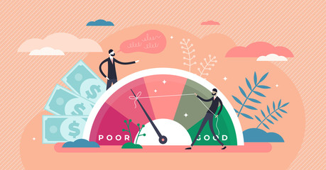 Credit score vector illustration. Wealth evaluation in tiny persons concept Fotomurales