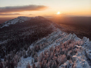Recess Fitting Gray traffic Winter landscape on a sunset. Mountains Carpathians, Ukraine