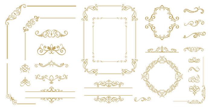 Luxury Gold vintage invitation vector set. Ornamental curls, dividers, Border design  and golden components design  for wedding invite, menus, certificates, boutiques, spa and logo design.