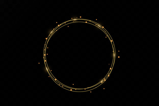 Gold glowing round frame with lights effects isolated on black transparent background. Shining golden ring. Vector neon swirl trail effect