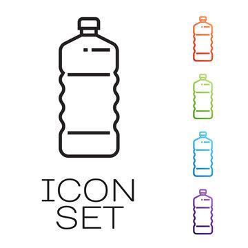 Black line Plastic bottle icon isolated on white background. Set icons colorful. Vector Illustration