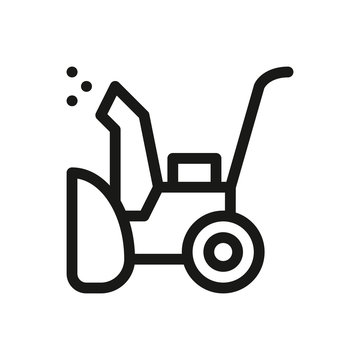 Hand snow blower isolated icon, hand power plow , snow removal linear vector icon