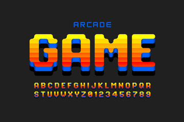Arcade game style font design, retro 80s video game alphabet, letters and numbers Fototapete