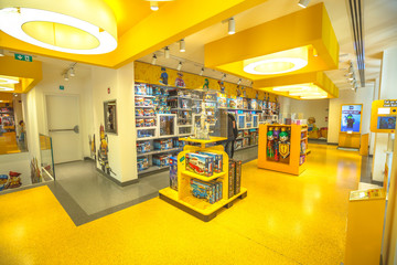 MILAN, ITALY- MARCH 7, 2017: upper floor interior of the toy store of Milano, Lego bricks. Located in Piazza San Babila square at the end of Corso Vittorio Emanuele II from Piazza Duomo square