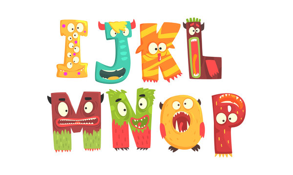 Monster Alphabetical Letters From I to P Vector Set