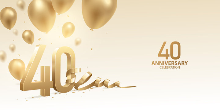 40th Anniversary celebration background. 3D Golden numbers with bent ribbon, confetti and balloons.
