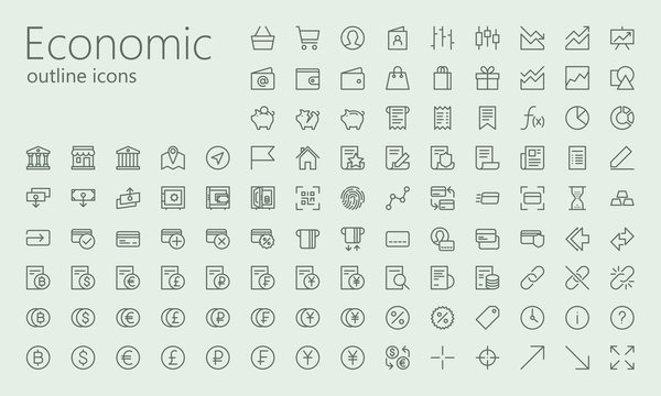 Economic and social outline iconset