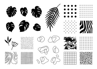 Design elements collection for banner, flyer, poster, invitation, magazine, etc. Set of Animal, geometric, abstract print patterns and backgrounds, tropical leaves, outline shapes.