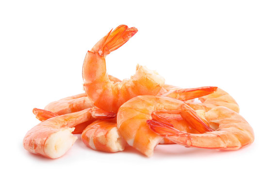 Delicious freshly cooked shrimps isolated on white