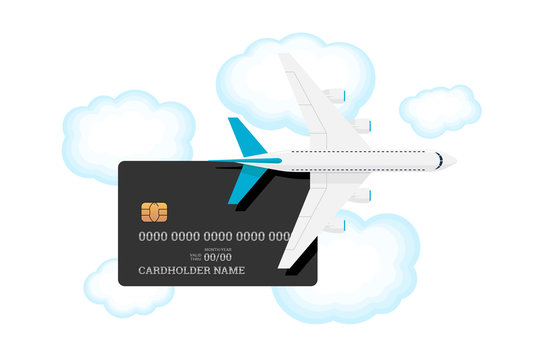 Miles bank premium card with airplane on sky with clouds. Credit or debit plastic card with bonus for frequent air travel vector illustration