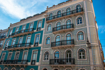 Tiled buildings in Lisbon city centre (Portugal).