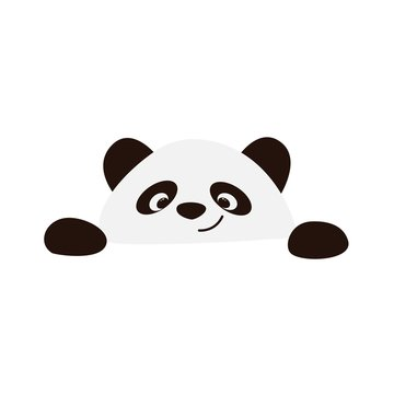 Smiling panda face on a white background vector