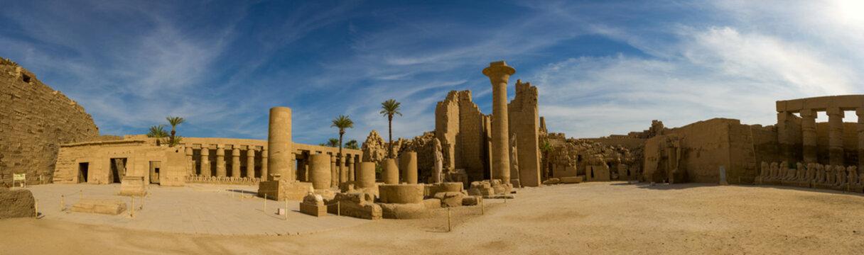 Karnak Temple, Temple Ruins, Embossed hieroglyphics on columns.  Great Hypostyle Hall.