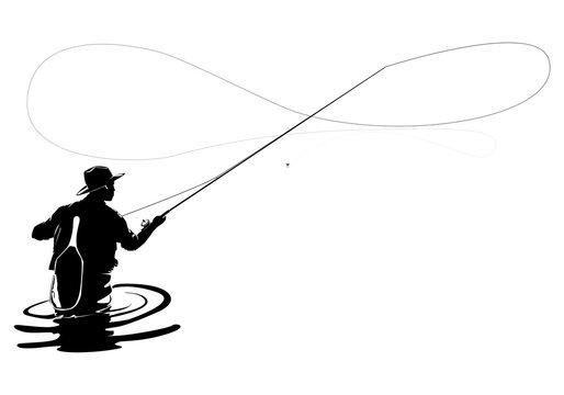 Fly fisherman fishing.clip art black fishing on white background - Vector