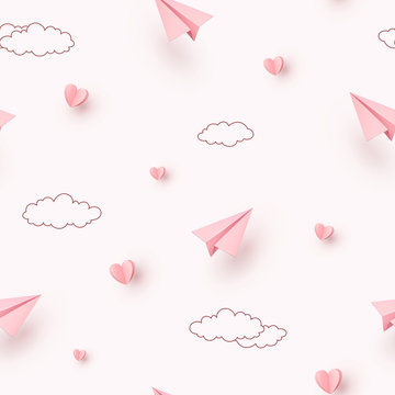 Hearts and planes seamless pattern. Paper flying airplanes on pink sky background. Vector symbols of love for Happy Mother's, Valentine's Day greeting card design..