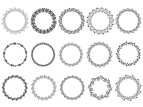 vector illustration of hand drawn wreaths