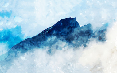 Foto op Plexiglas Lichtblauw Digital landscape painting of mountains in blue tone with mist, art illustration