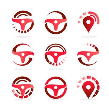 Car Steering Wheel set, abstract logo template. Navigation map icons. Automotive vector illustration.