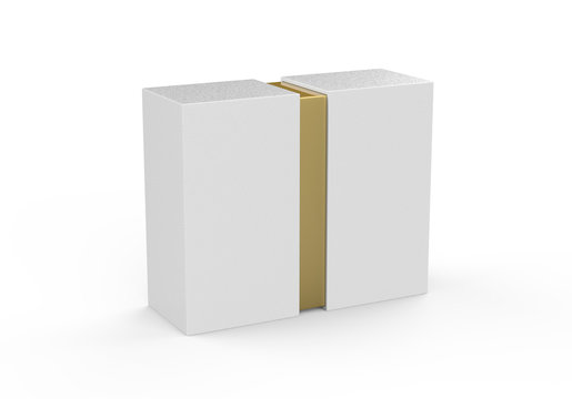 Blank sliding gift box mockup with golden inner part, mock up template on isolated white background,3d illustration