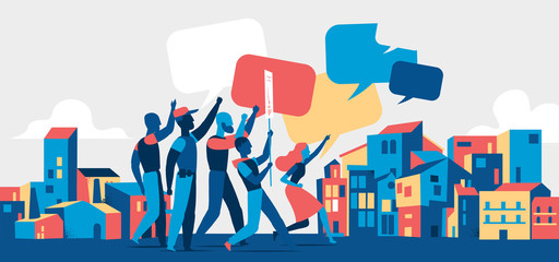 People protesting on demostration or picket in the city streets. Youth crowd against violence, pollution, discrimination, human rights violation. Blank speech bubbles - Vector illustration