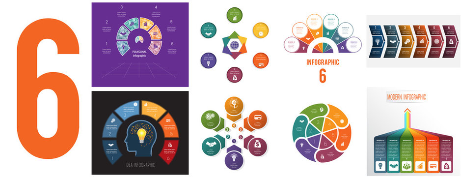 Set 8 universal templates for Infographics conceptual cyclic processes for 6 positions possible to use for workflow, banner, diagram, web design, timeline, area chart,number options