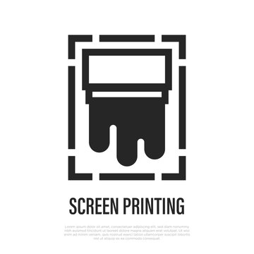 Screen printing thin line icon. Vector illustration of typography equipment.
