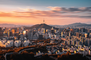 Stores photo Seoul Seoul city Downtown skyline in Seoul, South Korea.